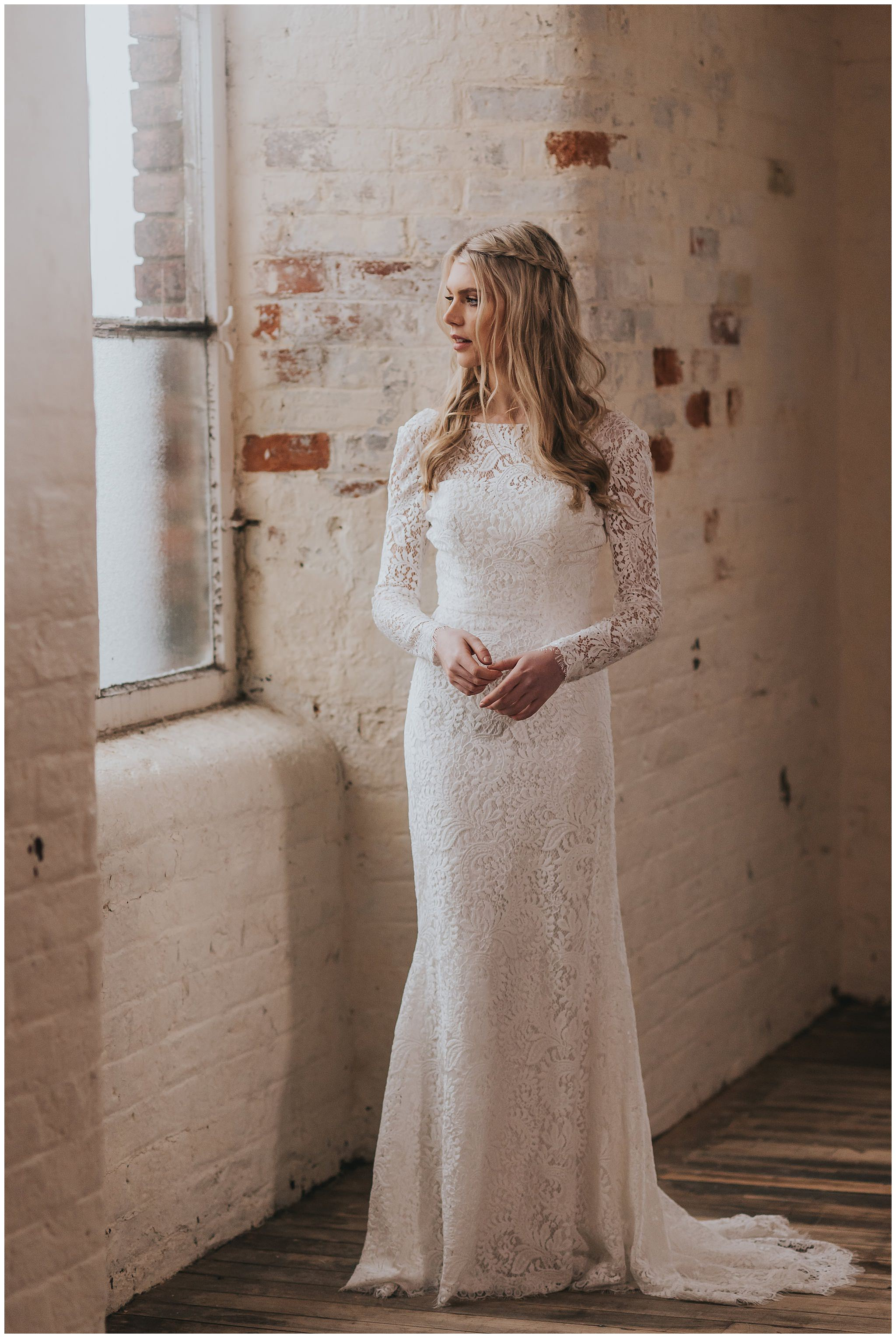 Luna by Shikoba Bride a long sleeve lace bridal dress