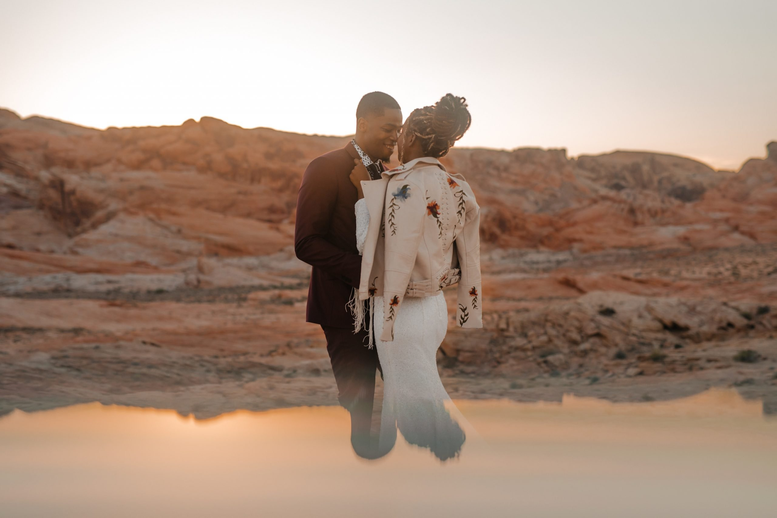 bride wearing Sequin boho wedding dress in the valley of fire by Shikoba Bride image by Marissa Rose Photography