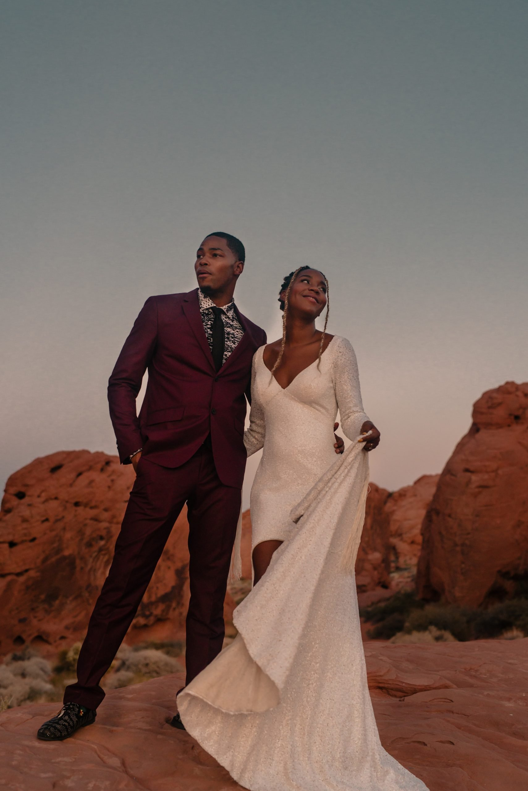 joni by shikoba bride wearing Sequin boho wedding dress in the valley of fire by Shikoba Bride image by Marissa Rose Photography