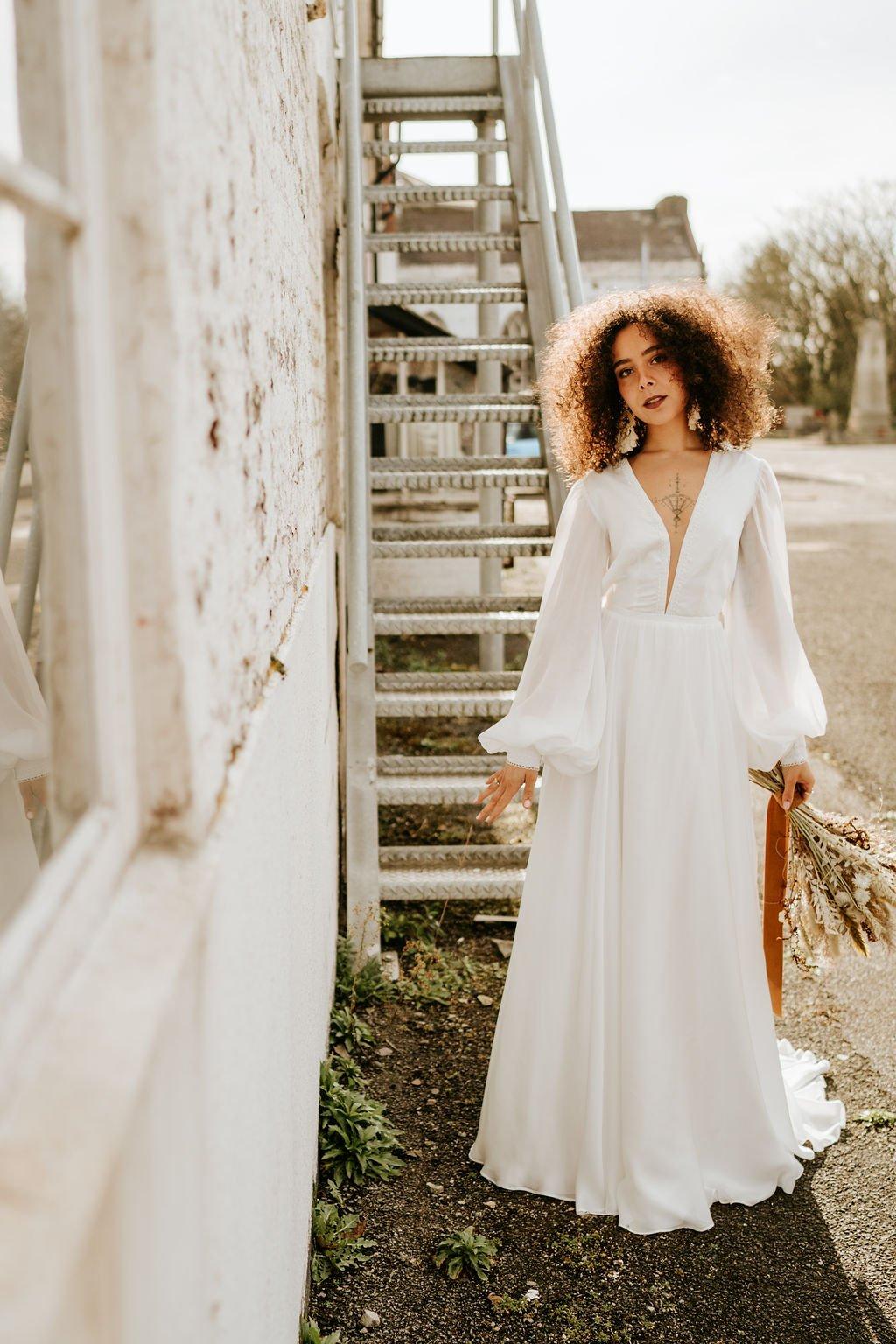 Kiki by Shikoba Bride, Ivory boho long sleeved, silk chiffon wedding dress